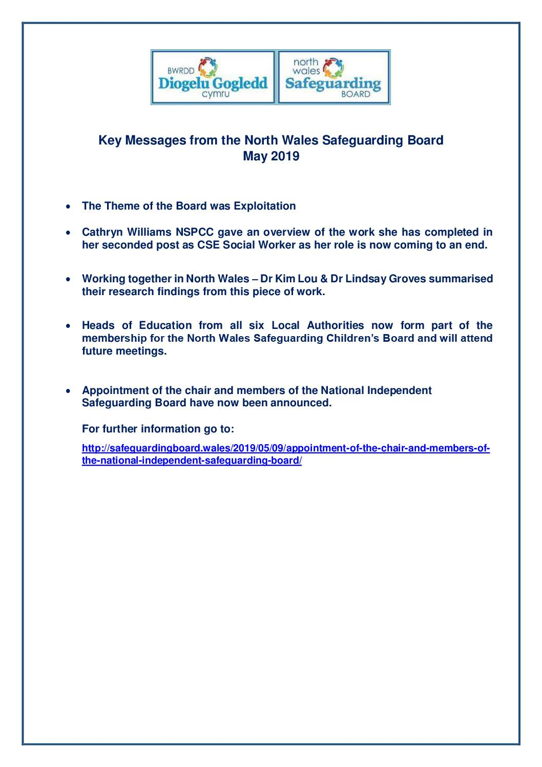 Key Messages NWSCB May 2019