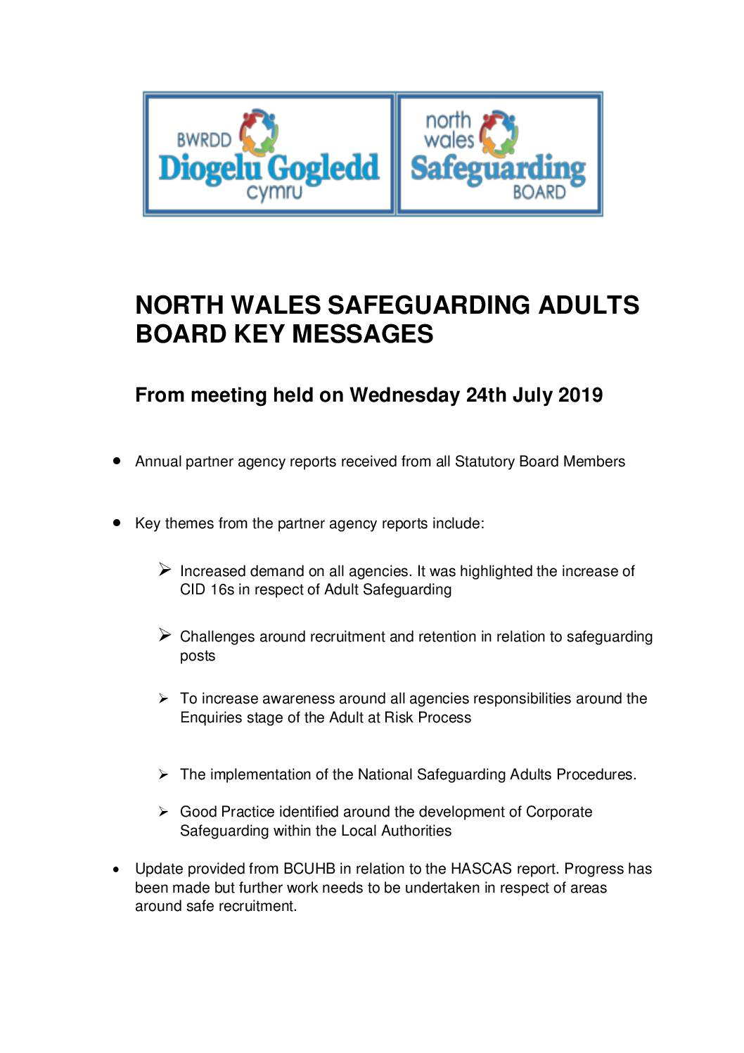 Key Messages NWSAB July 2019