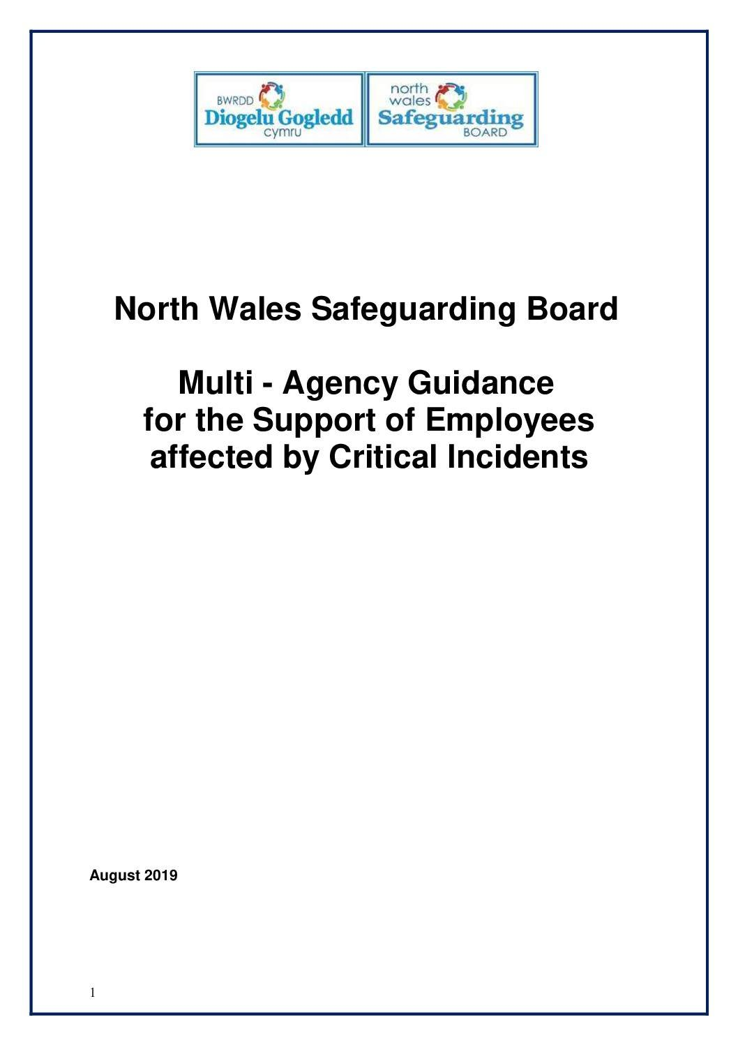 Multi – Agency Guidance  for the Support of Employees affected by Critical Incidents