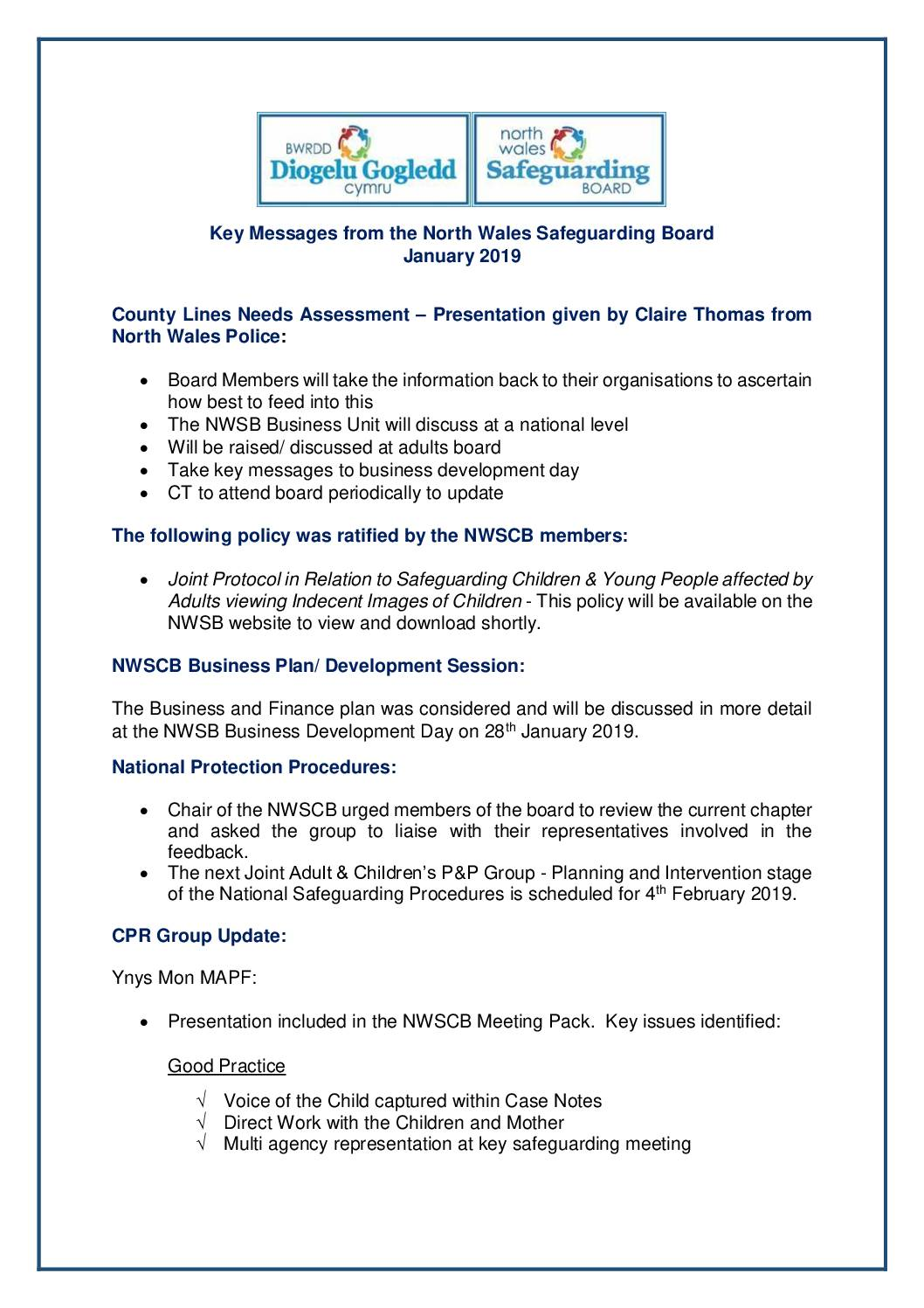 Key Messages NWSCB January 2019