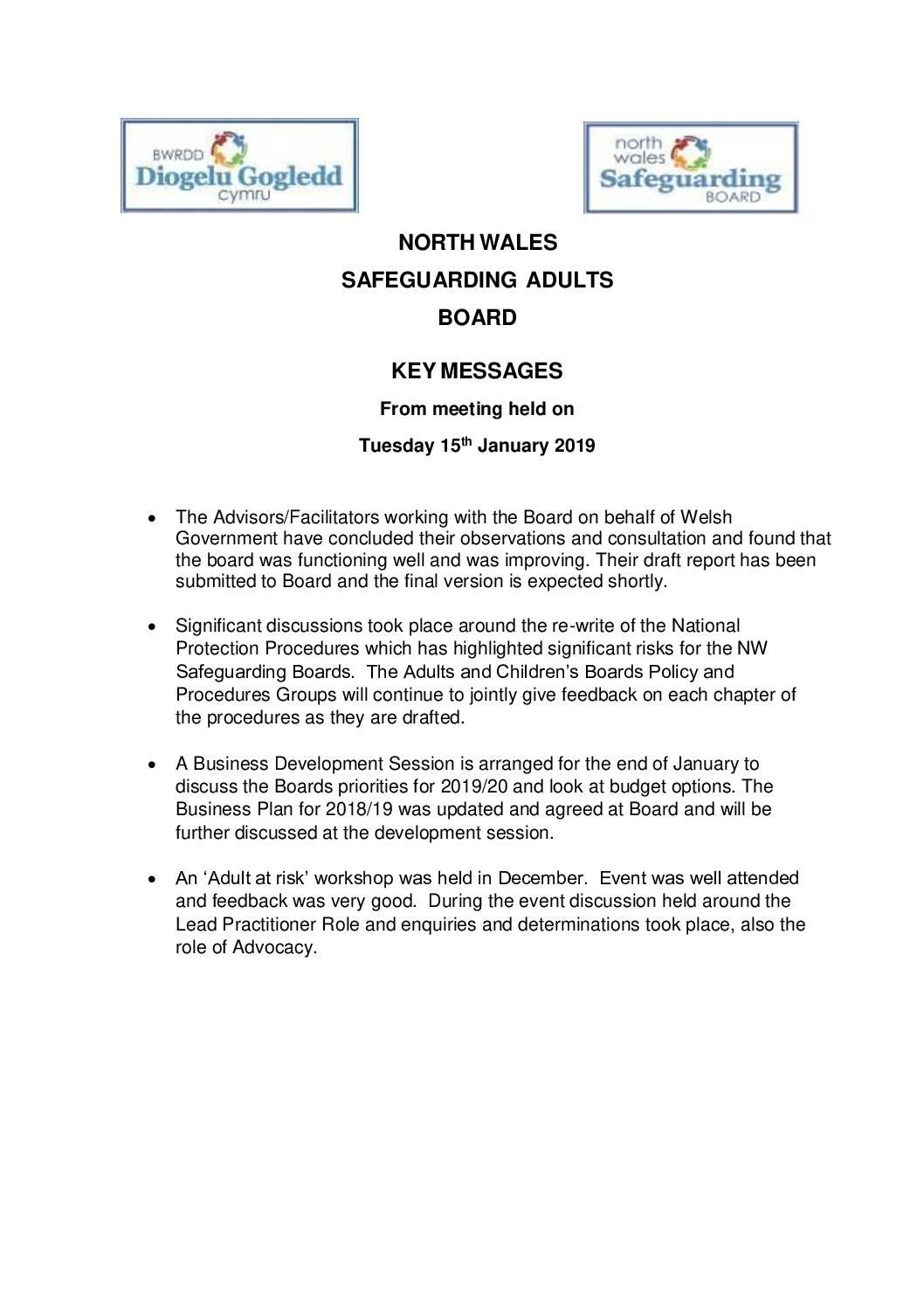 Key Messages NWSAB January 2019