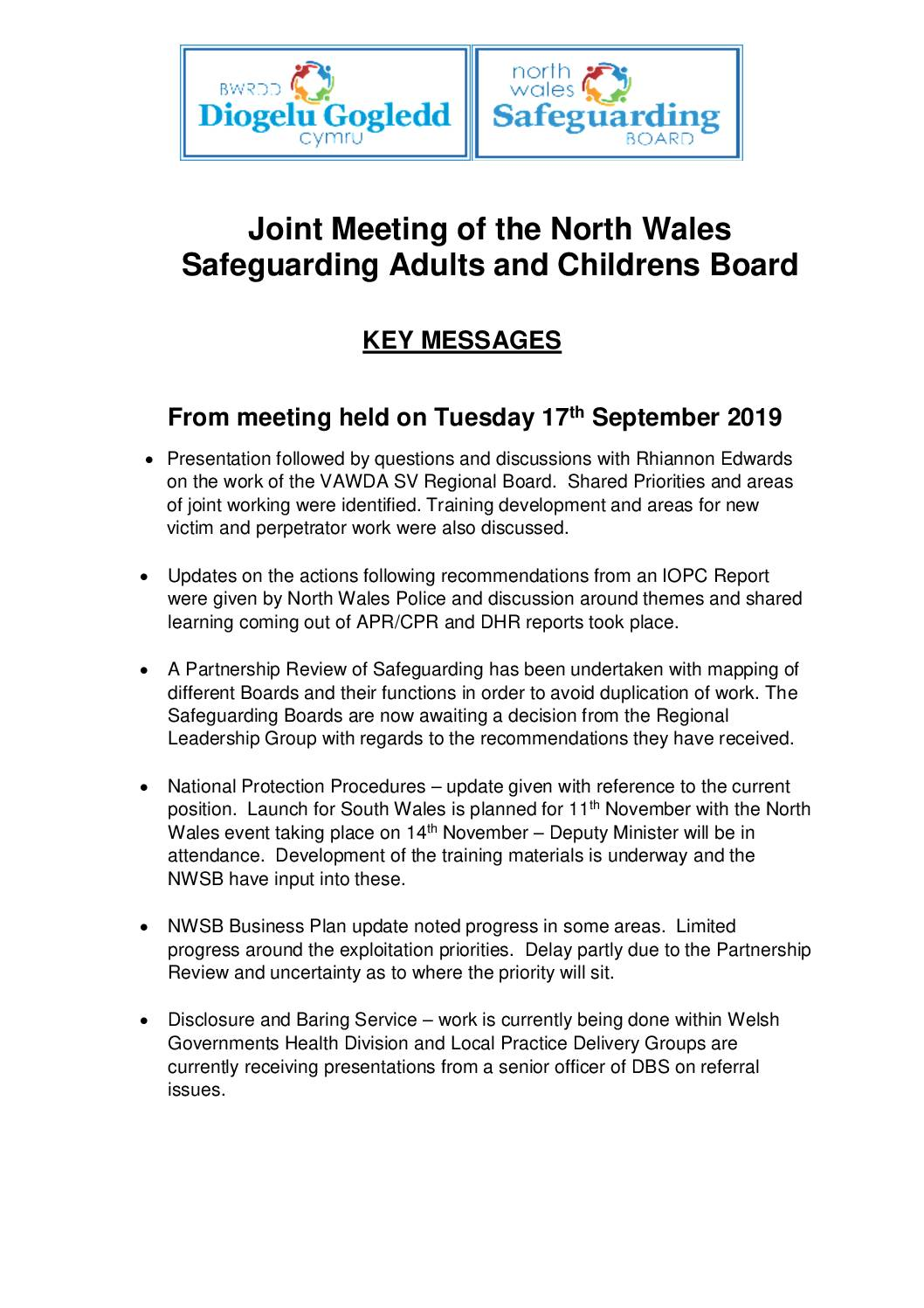 Key Messages NWSB Joint Meeting September 19
