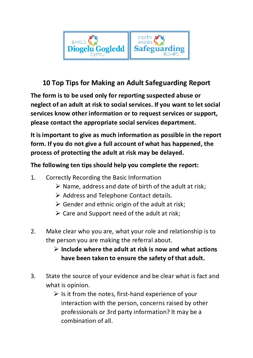10 Top Tips for Making an Adult Safeguarding Report