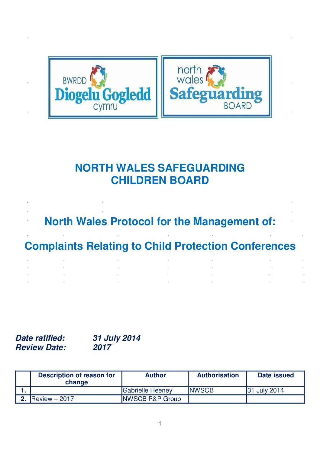 Protocol for the Management of Complaints Relating to Child Protection Conferences