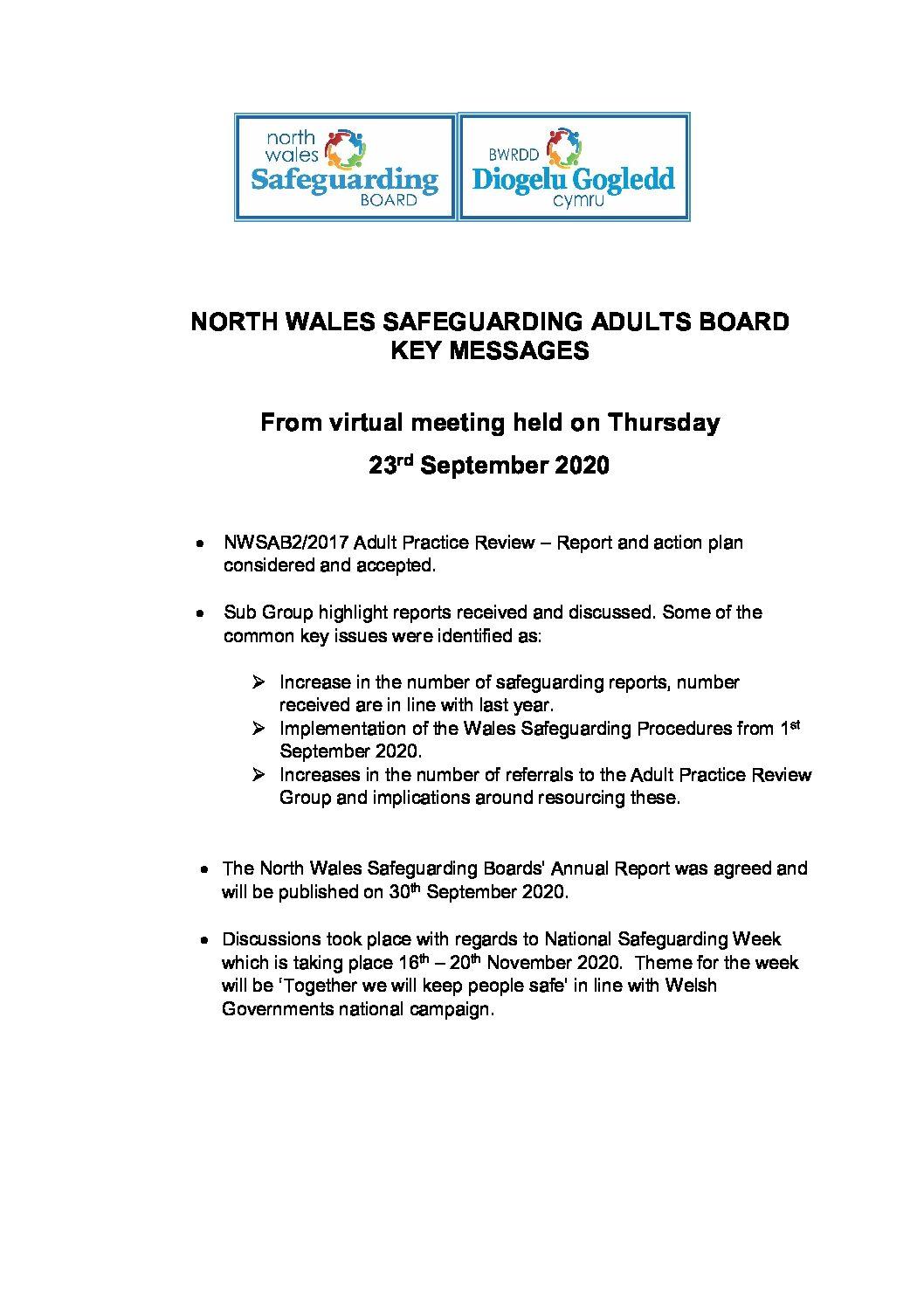 NWSAB Key Messages September 2020