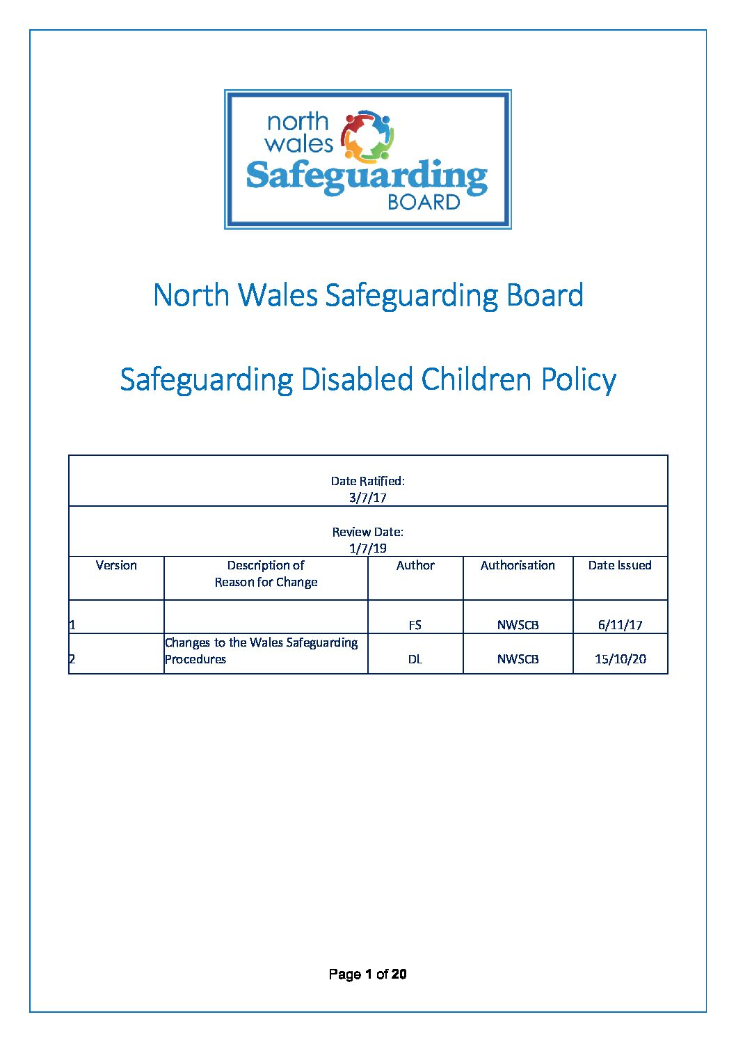 NWSCB Safeguarding Disabled Children Policy