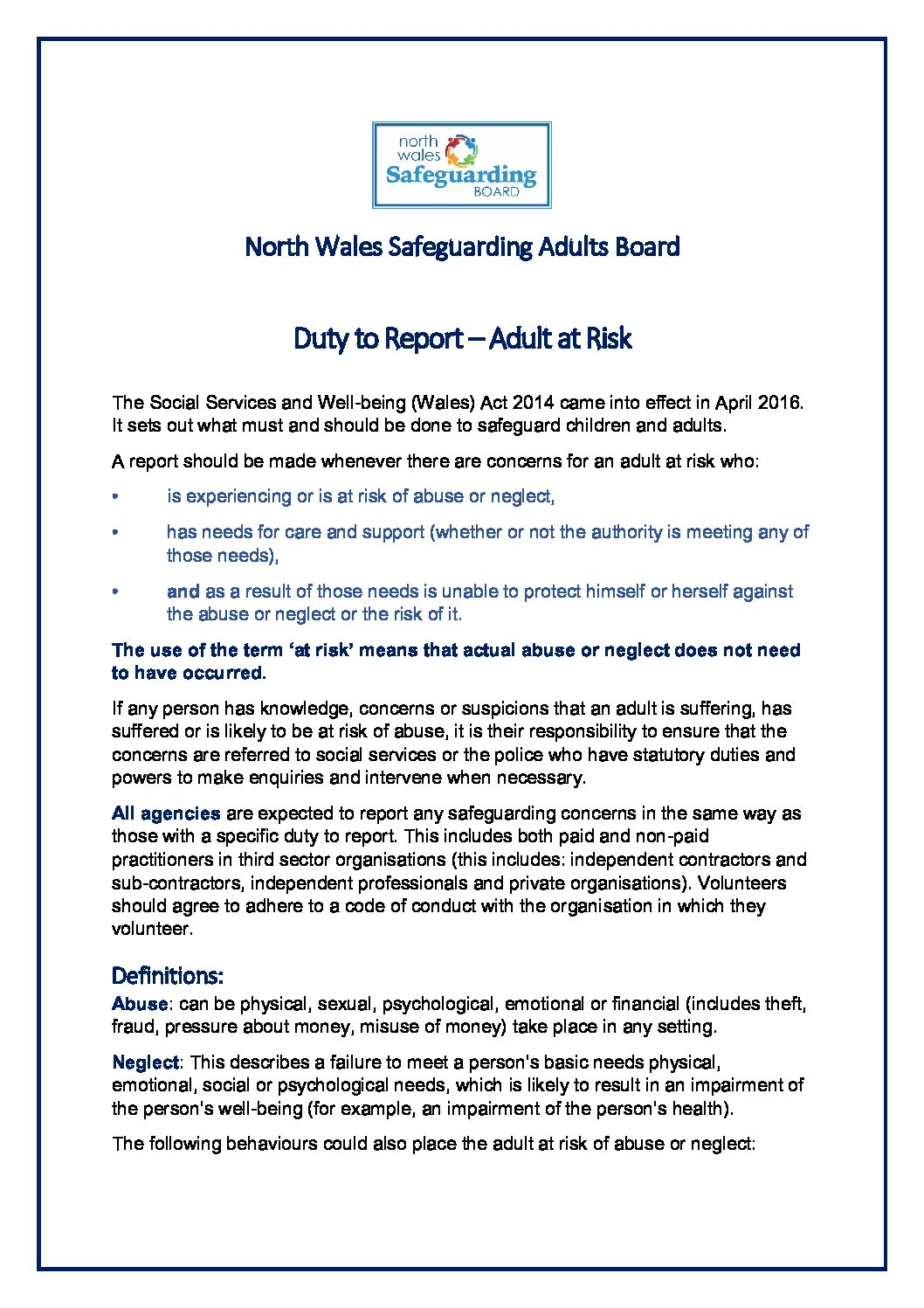 Duty to Report – Adult at Risk