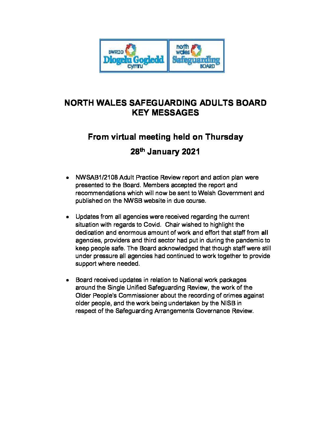 Key Messages NWSAB January 2021