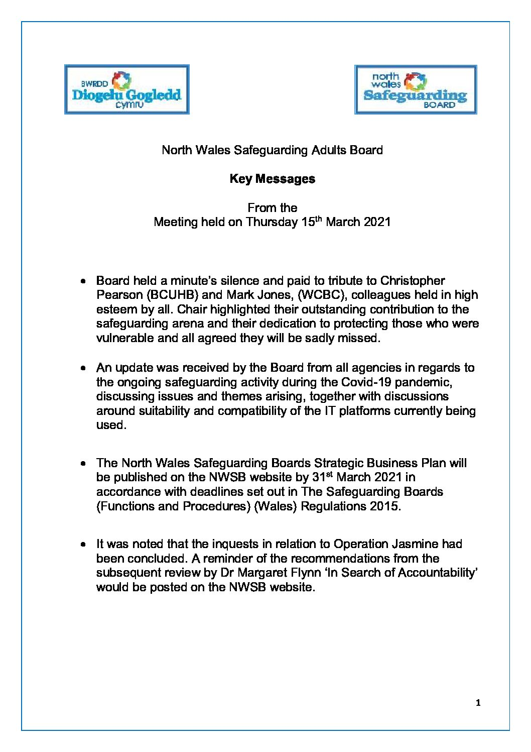 NWSAB Key Messages March 2021