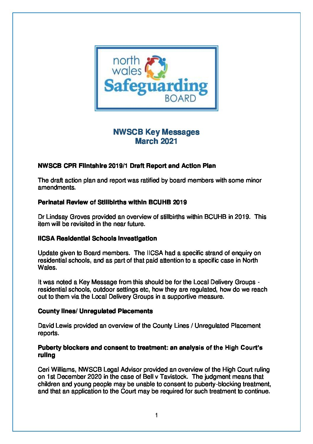 NWSCB Key Messages March 2021