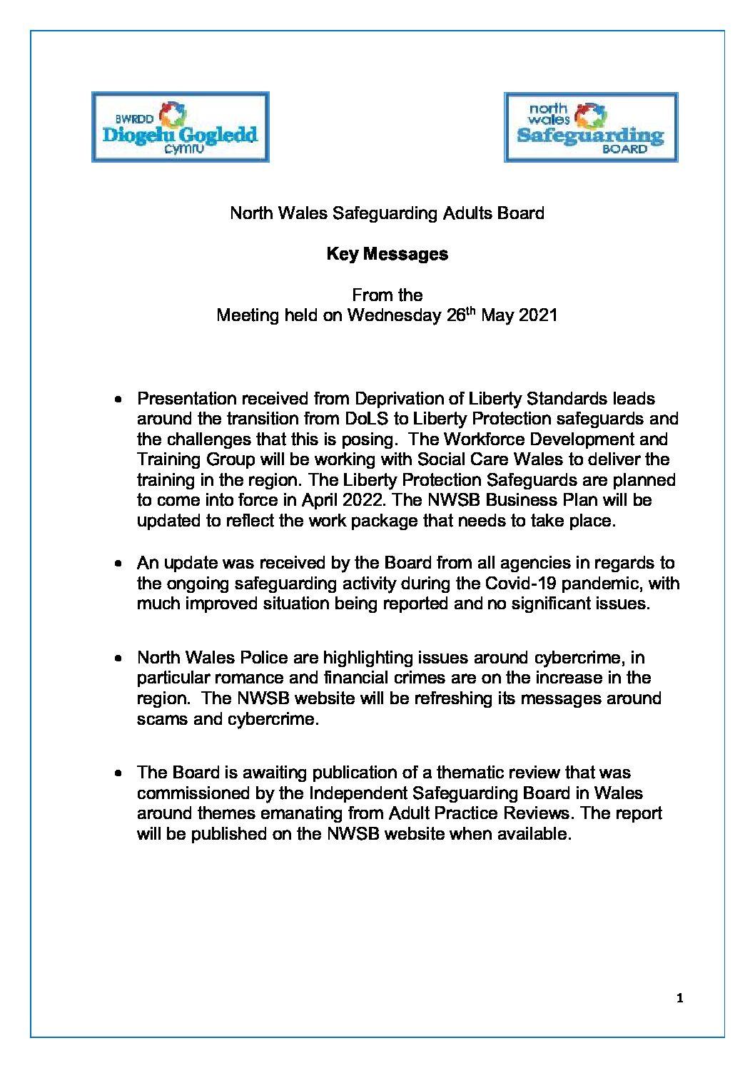 NWSAB Key Messages May 2021