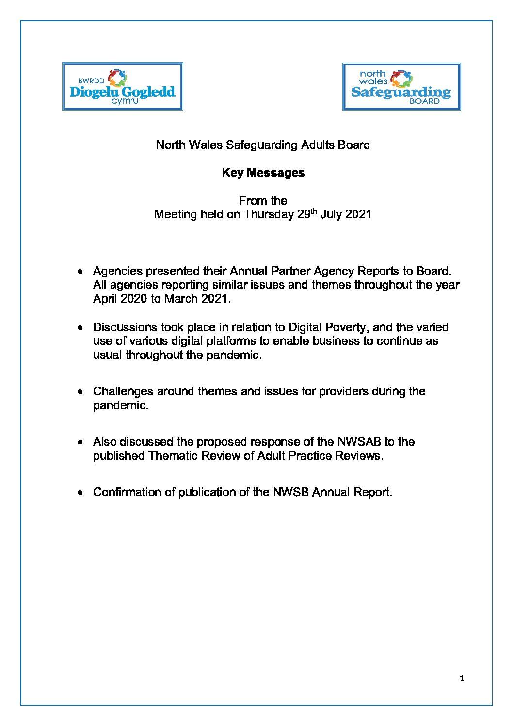 NWSAB Key Messages July 2021